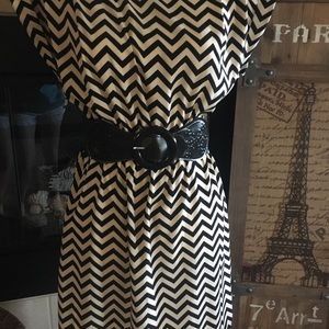 Beige and black zig- zag dress.